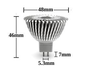 MR16 3w 30 degree LED Bulb dimensions