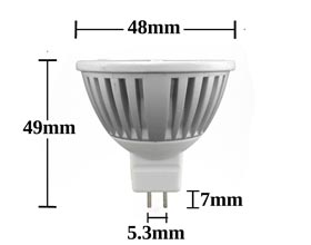 MR16 5w 4100k LED bulb dimensions