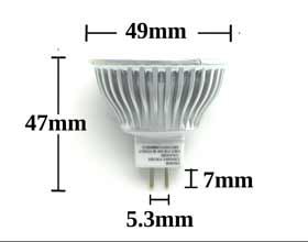 MR16 5w 45 degree LED Bulb dimensions